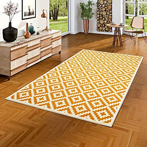 Alfombra amarilla de diseño geométrico - 5 tamaños
