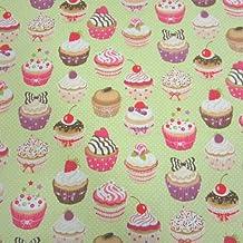 Tela de algodón magdalenas pasteles cupcakes puntos verde claro y blanco multicolor