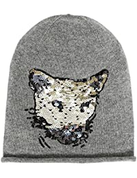 Head Hunter Beanie Grey with Cashmere and Sequin Panther Head