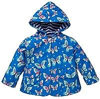X&F Little Girls Butterfly Prints Hooded Raincoat Waterproof Jacket Rainwear 4-5 Years, Blue