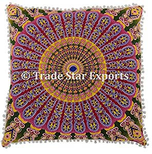 Buy Euro Sham Pillow Cover With Pom Pom Lace Decorative Floor Cushion 26 Ethnic Cotton Mandala Cushion Cover Pattern 6 Online At Low Prices In India Amazon In