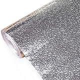 Kitchen-dream Carta da parati stagnola argento Adesivi da cucina Adesivi autoadesivo in alluminio da cucina Adesivo da cucina impermeabile a prova di olio (30cm x 3m)