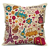 #8: indibni Love Printed Cushion 12X12 Pillow with Filler Insert Beidge Paris Coffee Love