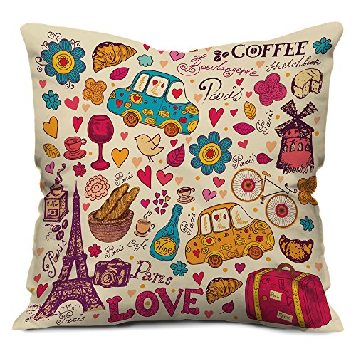 indibni Love Printed Cushion 12X12 Pillow with Filler Insert Beidge...