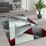 Paco Home Kurzflor Wohnzimmer Teppich Moderne Melierung Geometrische Muster Grau Rot, Grösse:160x220 cm