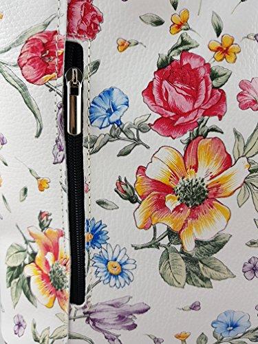 2 in 1 Handtasche Rucksack Designer Luxus Henkeltasche aus Echtleder in versch. Designs Blumen Schwarz