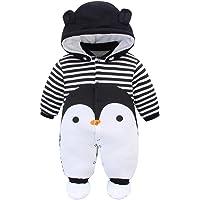 Bambino Pagliaccetto con Cappuccio Scarpe Tute da neve Cartone Animato Jumpsuit Inverno Caldo Tutine Set, Pinguino 0-3…