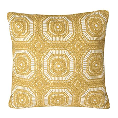 Mika Home Embroidery Geometric Circles Accent Decorative Pillow Case Cushion Cover for 18X18