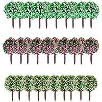 30 Piezas 1.38 pulgada Modelos de Árboles con Flores Modelos de Paisaje 1:100