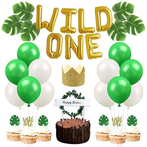 dekorationen für den Ersten Geburtstag mit Wilden Luftballons, Goldener Glitzer, Geburtstagshut, Palmenblätter, für Cupcakes, Dekoration ()