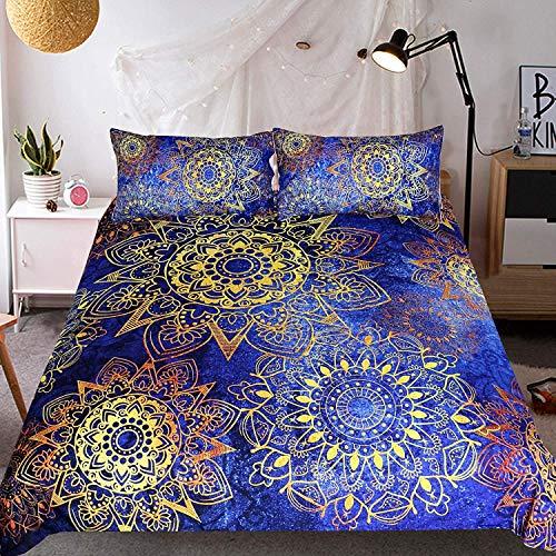 Sleepwish Kobalt Blau und Gold Mandala Betten 3Stück Indischen Ombre Bohemian Hippie Bettwäsche Tröster, Set Boho Doona Bettbezug Twin (Tröster Set Boho)