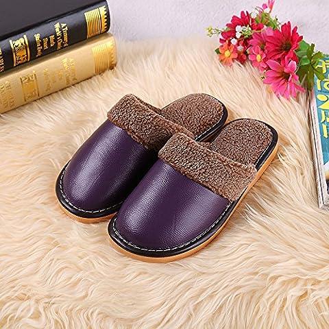 ZHLONG Ms. calde pantofole casa slittamento coperta pantofole in pelle artificiale , purple , large