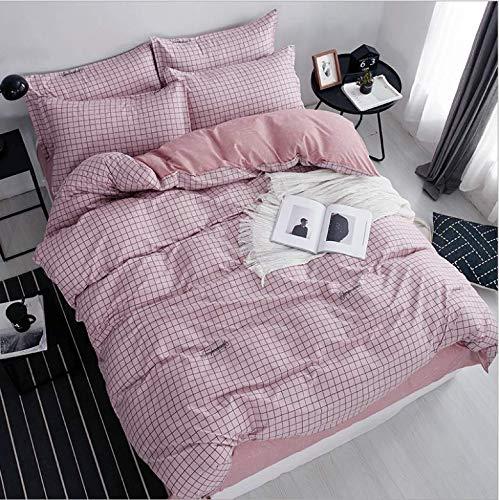 SHJIA Karierte Königskönigin Full Twin Size Bettwäschesatz Bettwäschesätze beinhalten Bettbezug Bettlaken Kissenbezug pink 180x220cm - Twin-size-bettlaken