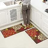 MKSFY Rutschfeste Absorbierende Bodenmatte Tür Streifen Thin Section Set Teppich Matte für Badezimmer Küche Studie Schlafzimmer Korridor Eingangstür Wohnzimmer Pfingstrose, Zweiteilige
