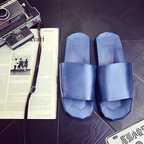DogHaccd pantofole,Pantofole estate donna antiscivolo in plastica interni soggiorno home bagni coppie vi estate home cool pantofole maschio Il blu4