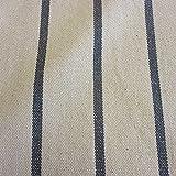 Stoff Baumwollstoff Meterware streifen natur grau Panama Zwirn schwer stabil dick