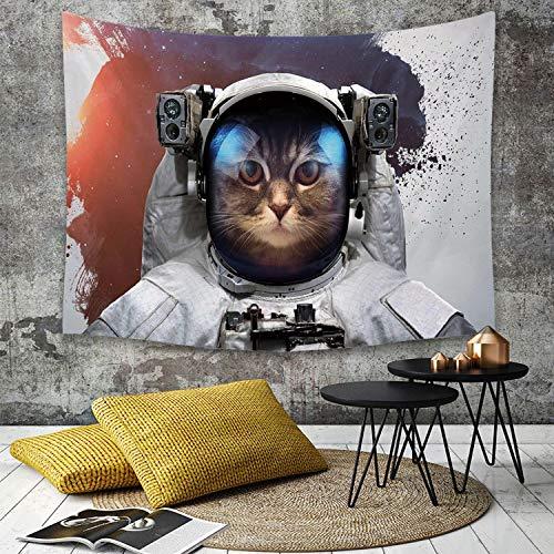 Tapestry, Wall Hanging, Space Cat, Street Art Grunge-Hintergrund mit Kosmonauten-Katze im Raumanzug, Weiß, Lila,wall hanging wall decor, Bed Sheet, Comforter Picnic Beach Sheet home décor 150 x 200 cm - Street Wall Tapestry