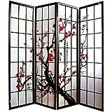 Pantalla de madera y papel de arroz con 4 puertas. Modelo Cherry Color negro