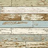 "nuwallpaper ""Old Salem"" vintage madera Peel y Stick papel pintado, Multi"