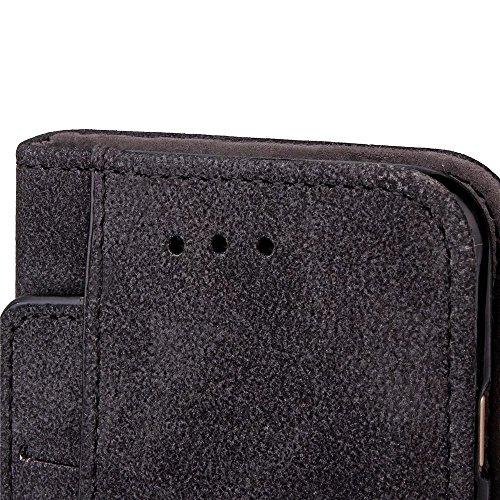 iPhone Case Cover Embossed Blumen Retro Folio Premium PU Ledertasche Magnetverschluss Wallet Stand Stil Handschlaufe Case Cover für iPhone6 6s ( Color : Rose , Size : IPhone 6s ) Black