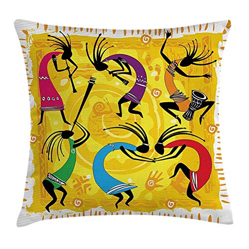 ow Cushion Cover, Dancing Playing Musical Instruments Figures on Tribal Patterns Artwork, Decorative Square Accent Pillow Case, 18 X 18 inches, Yellow Black Purple ()