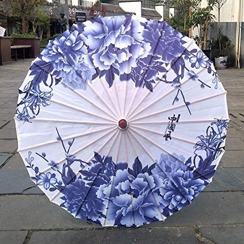 TVKL Paraguas de Seda para Mujer, Paraguas de Seda con Flores de Cerezo japonesas, Paraguas Decorativo Estilo Chino, Paraguas de Papel de Aceite Gris