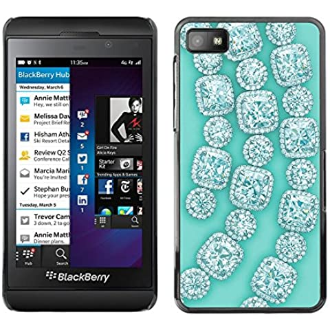 GooooStore/Dura Custodia Rigida della copertura della cassa - Gemstones Gems Green Bling - Blackberry Z10