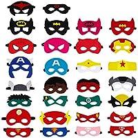 QH-Shop Máscaras de Superhéroe, Máscaras de Fieltro Mitad Máscara de Cosplay con Cuerda Elástica Máscaras de Ojos para Niños Mayores de 3 años 30 Piezas