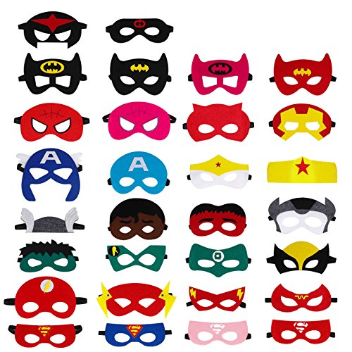 Party Motto Kostüm Superhelden - QH-Shop Superhelden Masken, Filz Masken Superhero Cosplay Party Masken Halbmasken mit Elastischen Seil für Erwachsene und Kinder Party Maskerade Multicolor, 30 Stücke