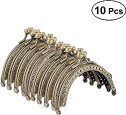 ULTNICE Metal Arch Frame Kiss Clasp Lock Semi-Circular Purse Bag Frame Clasp Lock Bronze Tone DIY Craft Frame Kiss Clasp Lock 10PCS
