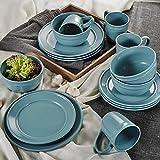 vancasso Noah 16-teilig Porzellan Geschirr Set, mit 440 ml Kaffeetassen, 770 ml Müslischalen, Dessertteller und Speiseteller, Blau