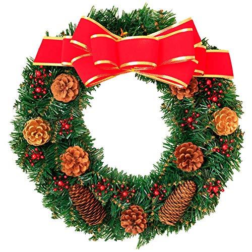 Jannyshop 30 cm Artificial Corona de Navidad con Lazo Rojo para Interiores...