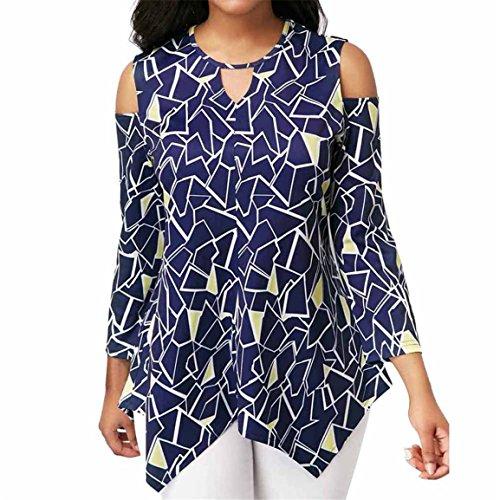 Moonuy 1 PC Frauen übersteigt Damen-Lange Hülsen-Bluse beiläufige Art- und Weisefrauen Kalte Schulter-asymetrische Gedruckte Oansatz T-Shirt Oberseiten-Bluse