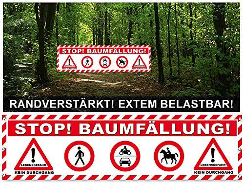 Banner Baumfällungen / Absperrung / Sicherheit Forstarbeiten Plane 400x100cm / Banner Waldarbeiten