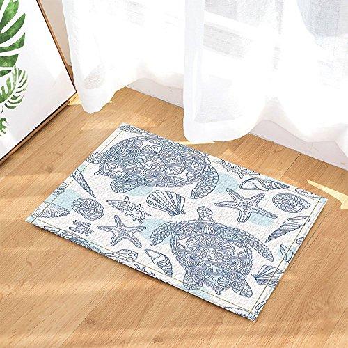 gohebe Sommer Unterwasser Print Decor Stroke Ocean Schildkröte in Seestern Koralle für Kinder Bad Teppiche rutschhemmend Fußmatte Boden Eingänge Innen vorne Fußmatte Kinder Badematte 39,9x 59,9cm Badezimmer Zubehör
