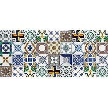 Alfombra para cocina de vinilo Laroom 14164 140cm azulejos de flores
