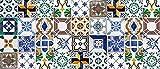 Laroom Alfombra Vinílica de Cocina Diseño Ceramic Patchwork, Vinilo Antiliscante, Multicolor, 65x150 cm