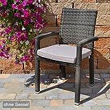 Sitzkissen mit Reißverschluss und Bindeband 49x48x6 cm in taupe Caracas 50127-55 ohne Stuhl
