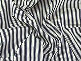 Inlett Streifen gewebt Baumwolle Möbelstoff, Marineblau, Meterware