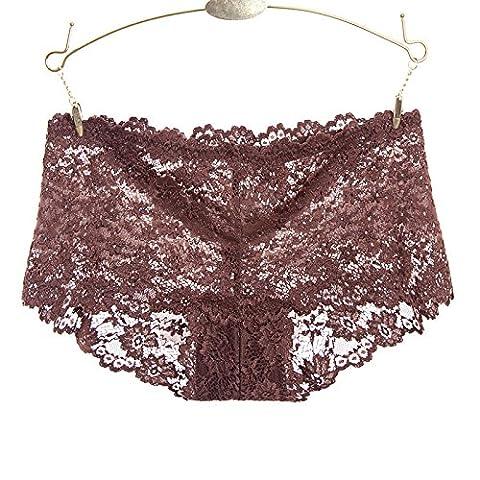 RRRRZ*Le sens de la transparence sous-vêtements femme tentation pour de plus grandes non tachant Mme dentelle sous-vêtements hip 3 Angle de faible hauteur pantalon ,XL,un chocolat,