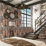 Starsglowing Retro Wandtapete Holz Optik PVC Fototapete für Schlafzimmer Wohnzimmer Cafe Bar Boutique 10 x 0,53 M (Holz, Dunkel)