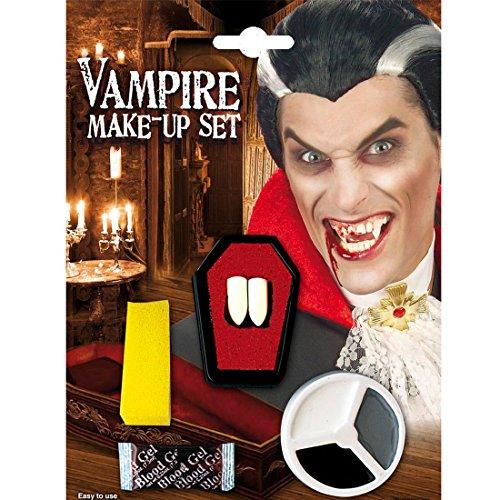 ampirzähne weiß-schwarz-grau Vampirschminke mit Eckzähnen Vampir Eckzähne Draculazähne mit Halloween Schminke (Vampire Make-up)