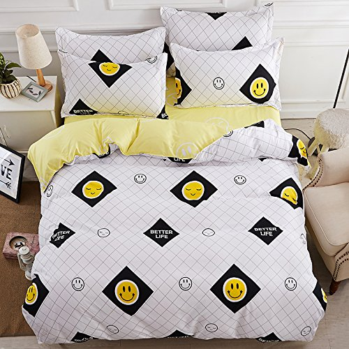 KFZ Bett Set (Zwei Full Queen King Size) [4 Stück: Bettbezug, Bettlaken, 2 Kissenbezüge] keine Tröster KSN Regen Smile Cloud World Travel Smile besser Life Warm Coffee Fruit Cartoon Design für Jugendliche, Kinder, Erwachsene, Microfaser, Smile Better Life, White, Queen 78