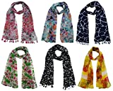 #4: FusFus Women's Printed Trendy Stoles, Free Size(Multicolour, F0168) - Pack of 6