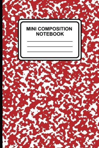 """Preisvergleich Produktbild Mini Composition Notebook: 6"""" x 9"""",  100 pages,  Lined Ruled Notebook,  (Marble (Red))-[Professional Binding]"""