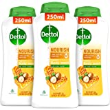 Dettol Body Wash and Shower Gel for Women and Men, Nourish (Pack of 2 - 250ml each) | Soap -Free Bodywash | 8h Moisturization