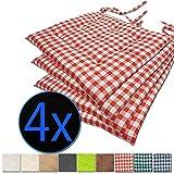 nxtbuy Stuhlkissen 4er Set 40x40 cm Rot Kariert - Gepolstertes Sitzkissen mit Bändern, für Indoor und Outdoor - in vielen Farben erhältlich