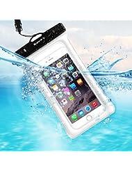 Flotante Bolsa Móvil Impermeable, SAVFY Universal 7 Pulgadas Certificado IPX8 (10m de Profundidad) para iPhone 6S / 6S Plus / SE , Samsung Galaxy S7 Edge / S6 Edge etc (Blanco)