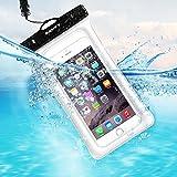 Pochette Étanche Smartphone 7'' Certifiée IPX8, SAVFY Housse Téléphone Waterproof Flottant Universelle(Profondeur de 30m) Protection contre Submersion pour iPhone 7/7Plus/6/ 6S/6 Plus/6S Plus/SE/5S/5/4S/4 Idéal pour Kayak/Bateau/Natation/Surfer - Blanc