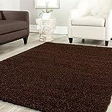 Teppich-Home Star Shaggy Teppich Farbe Hochflor Langflor Teppiche Modern für Wohnzimmer Schlafzimmer Uni Farben, Farbe:Braun, Maße:140x200 cm